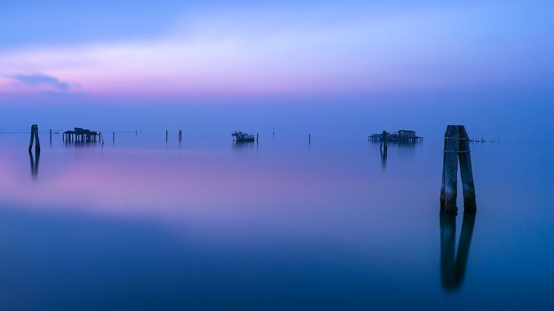 Fishing Huts, Venice, Italy, Water, Reflections, Calm, Sunset, Sea, Sky view, Wallpaper