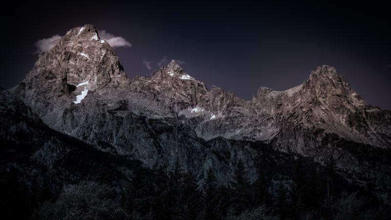 Grand Teton National Park, Early Morning, Mountain range, USA, Dark background, Peak, Wallpaper