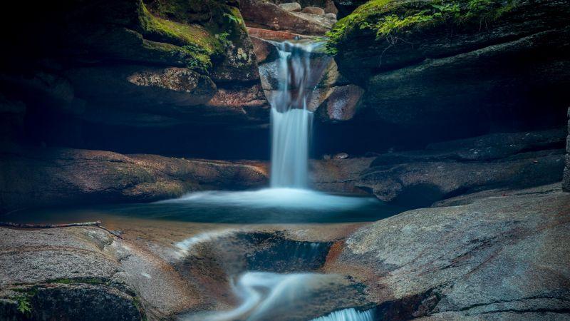 Sabbaday falls, New Hampshire, Waterfall, White Mountains, Evening, Water Stream, 5K, Wallpaper