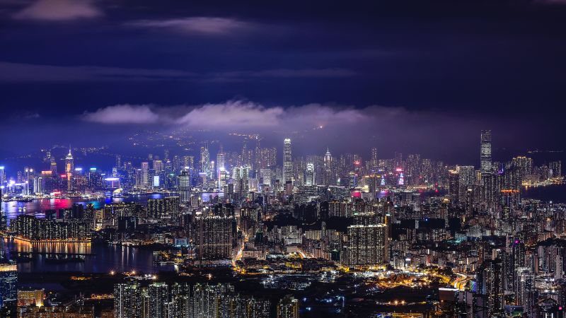 Cityscape 4k Wallpaper Hong Kong Night City Lights Skyline World 21
