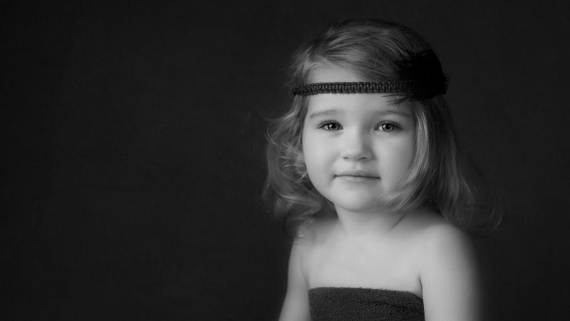 Cute Girl, Portrait, Monochrome, Dark background, Hairband, Wallpaper