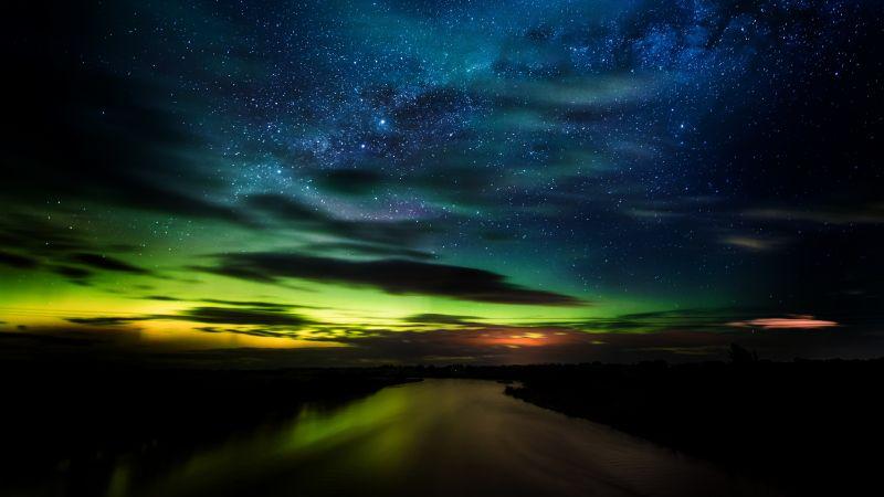 Aurora Borealis, Stars, Clouds, New Zealand, Dawn, Night, River, Green, Blue Sky, Dark background, 5K, Wallpaper