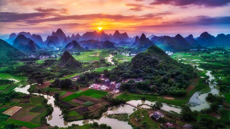Guilin City, China, Sunset, Beautiful, Green Fields, Village, River, Mountains, Clouds, 5K, 8K, Wallpaper