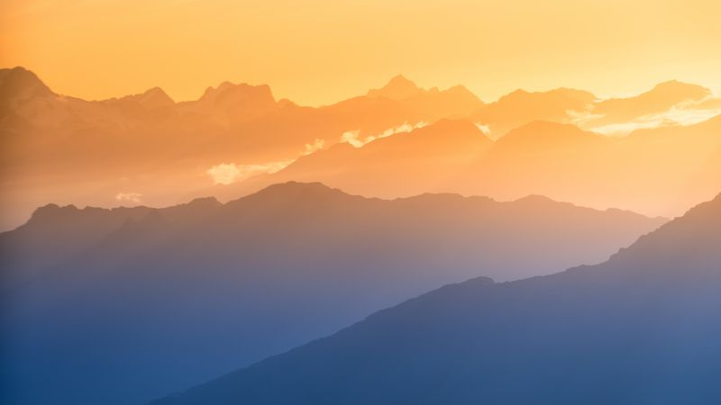 Southern Alps, New Zealand, Sunset, Clouds, Mountain View, 5K, 8K, Wallpaper