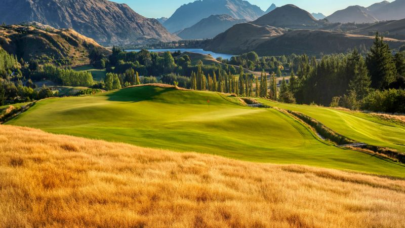 Golf course, Landscape, Mountains, Lake, Par 3, Green, Scenery, 5K, 8K, Wallpaper