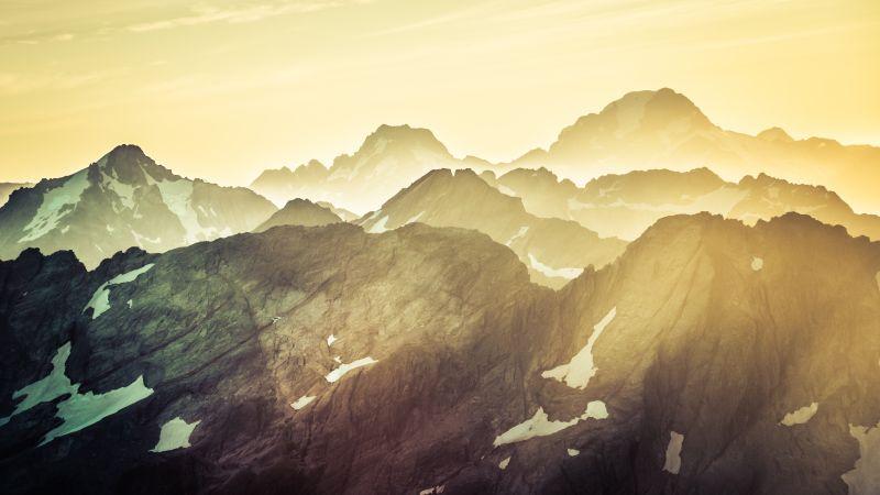Southern Alps, New Zealand, Aerial view, Mountain Peak, Glacial, Snow, 5K, 8K, Wallpaper