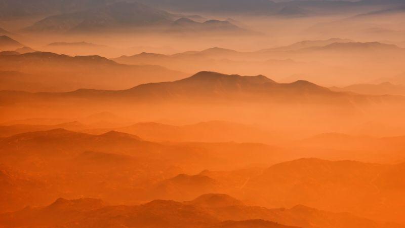 Yosemite Valley, California, Sierra Nevada mountains, Orange background, Aerial view, 5K, 8K, Wallpaper