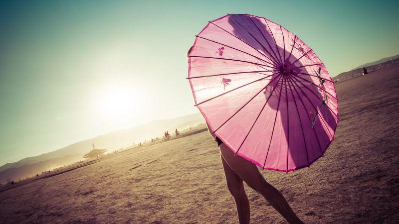 Pink Umbrella, Girl, Sunrise, Shadow, Clear sky, Blue, Wallpaper