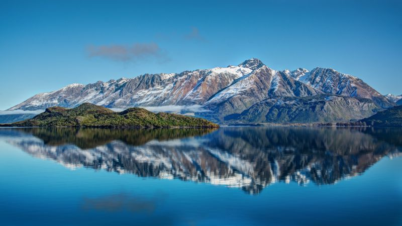 Snow mountains, Lake, Reflection, Water, Blue Sky, Landscape, Clouds, Wallpaper