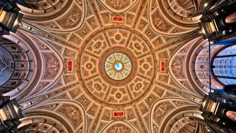 Kunsthistorisches Museum, Ceiling, Austria, Vienna, Indoor, Lights, Ancient architecture, 5K, 8K, Wallpaper