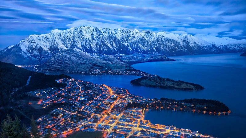 Lake Wakatipu, Queenstown, New Zealand Snow mountains, Cityscape, Night lights, Blue Sky, Clouds, 5K, Wallpaper