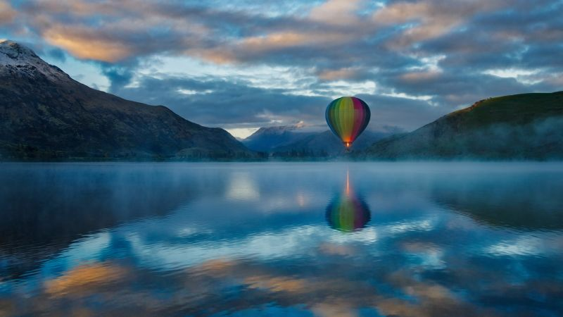 Hot air balloon, Lake Hayes, Queenstown, New Zealand, Mountains, Clouds, Reflection, Multicolor, 5K, 8K, Wallpaper