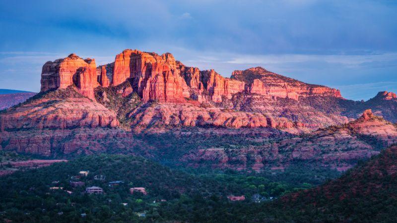 Sedona Red Rocks, Valley, Mountain range, Sunset, Sky view, Blue, Green Trees, Landscape, 5K, 8K, Wallpaper