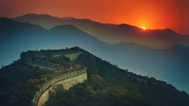 Great Wall of China, Sunset, Orange sky, Mountains, Beijing, Green Trees, Aerial view, 5K, Wallpaper