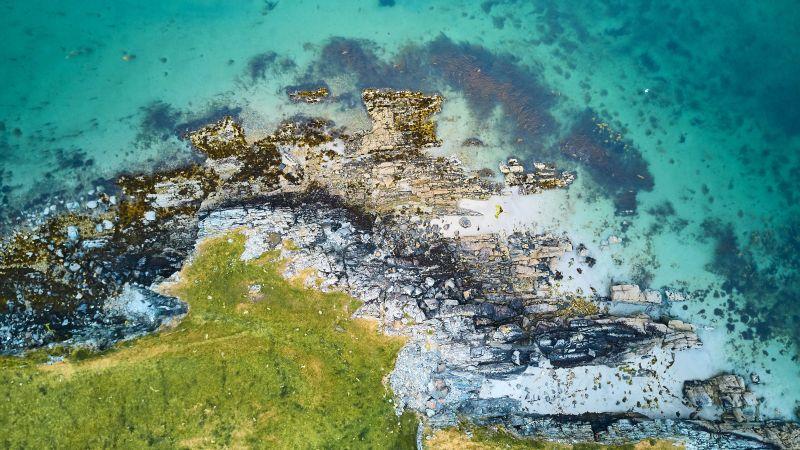 Green Island, Aerial view, Sea shore, Ocean blue, Rock island, Coast, Clear water, Wallpaper