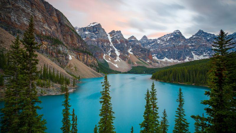 Snow mountains, Glacier, Valley, River, Landscape, Trees, Blue, Scenic, 5K, Wallpaper