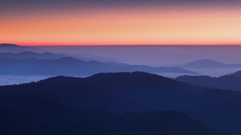 Sunset Orange, Sky view, Mountains, Foggy, Mountain range, 5K, Wallpaper