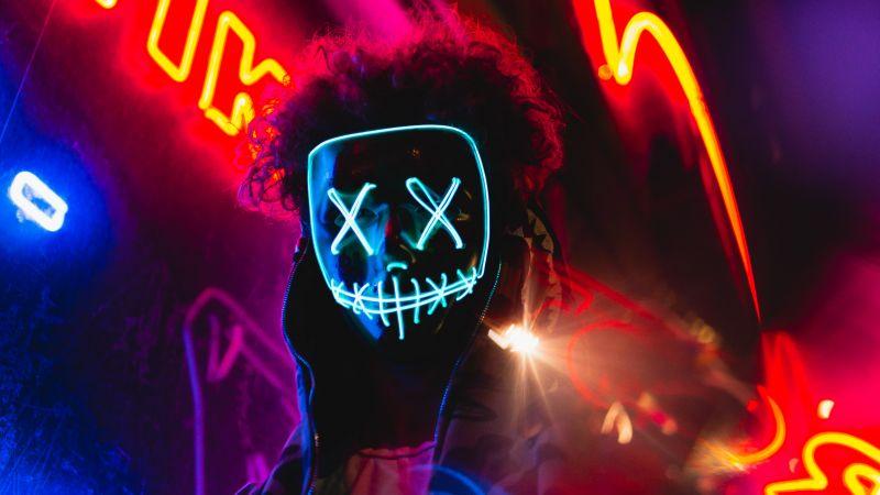 LED mask, Neon Lights, Portrait, Colorful, Anonymous, 5K, Wallpaper