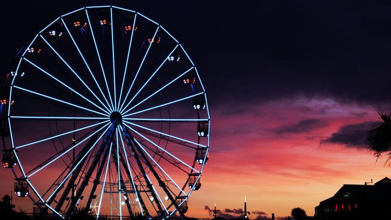 Ferris wheel, Silhouette, Sunset, Neon Lights, Amusement park, Purple sky, Dark background, 5K, Wallpaper