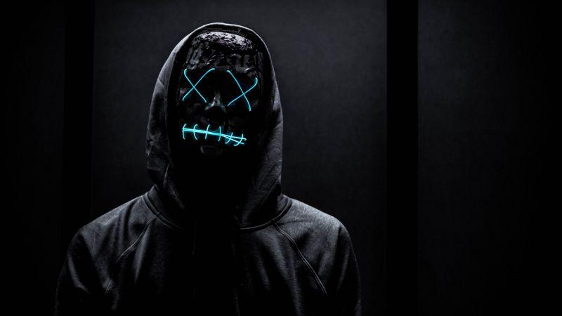 Neon Mask, Man in Black, Dark background, Hoodie, Blue light, 5K, Wallpaper
