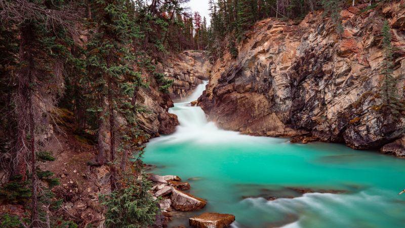 River Stream, Cliffs, Green Trees, Rocks, Blue Water, 5K, Wallpaper