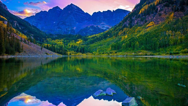 Rocky Mountains, Lake, Green Trees, Reflection, Purple sky, Sunset, Beautiful, Landscape, 5K, Wallpaper
