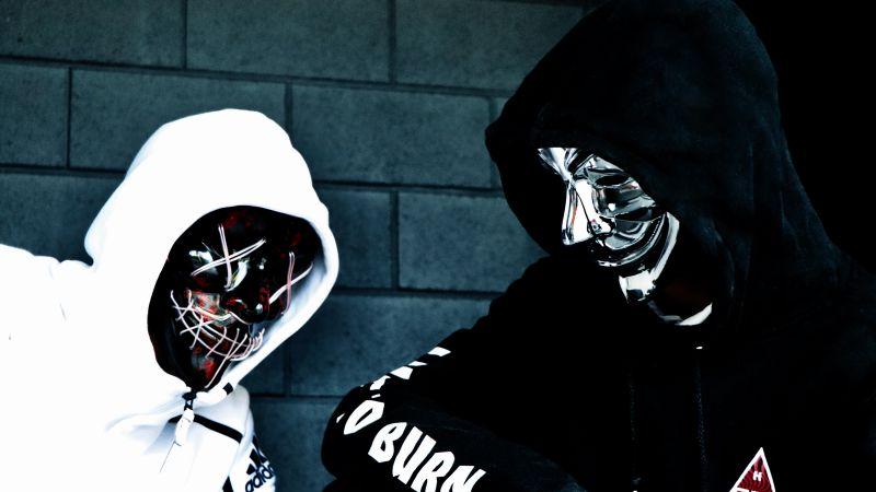 Persons in Mask, Sweatshirt, Black Mask, Anonymous, White, Black, Hoodie, 5K, Wallpaper