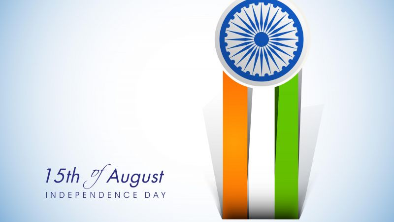 Indian Flag, Independence Day, August 15th, Tricolor, Red Fort, India, White background, 5K, Wallpaper