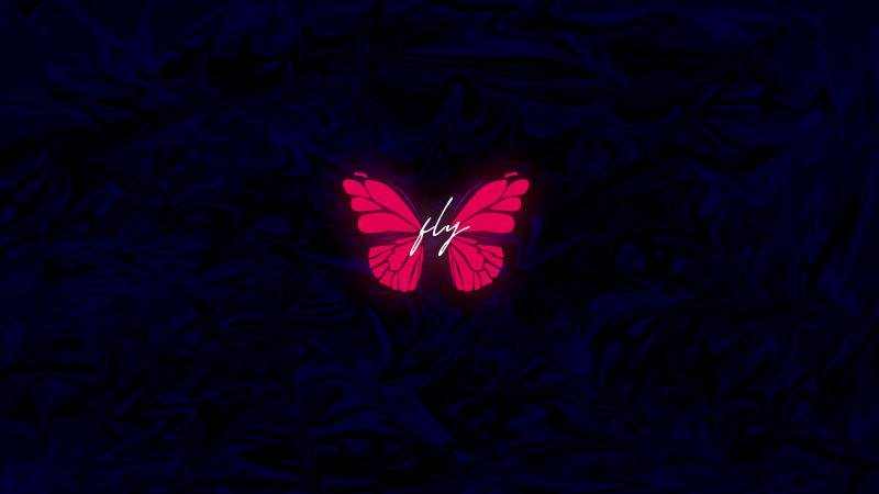 Butterfly, Neon, Glowing, Dark background, AMOLED, Wallpaper