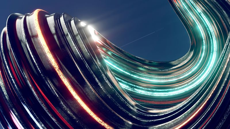 Swirls, Render, CGI, 3D, Colorful, Glowing, Aesthetic, Wallpaper