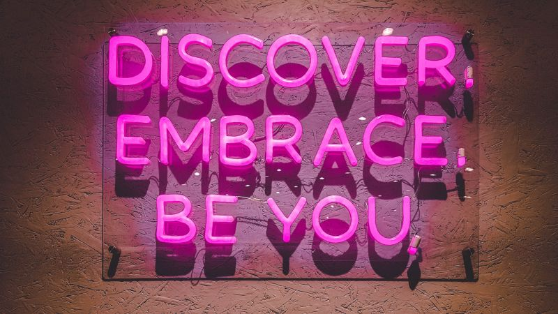 Discover, Embrace, Be You, Pink, Neon, Inspirational quotes, Girly backgrounds, Aesthetic, Wallpaper