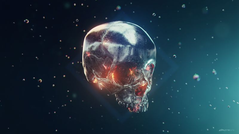 Skull, Metal, Iron, 3D model, Render, Wallpaper