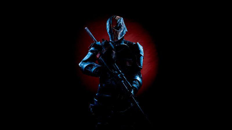 Deathstroke, Black background, DC Comics, Cosplay, 5K, Wallpaper