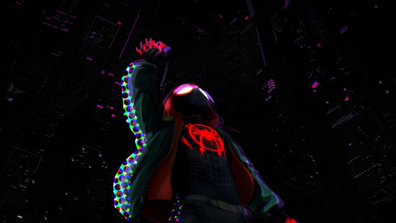 Miles Morales, Spider-Man: Into the Spider-Verse, Black background, Wallpaper