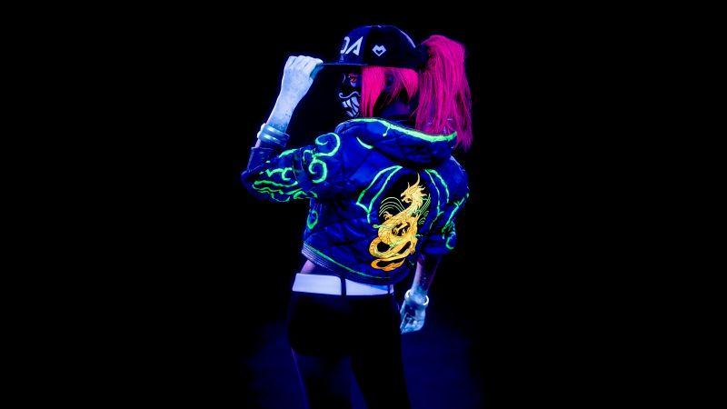 KDA Akali, League of Legends, Cosplay, Black background, Neon, 5K, Wallpaper