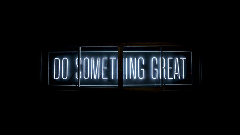 Do Something Great, Neon glow, Inspirational quotes, Black background, Wallpaper