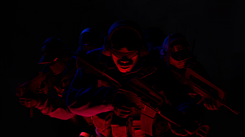 CS GO, Counter-Strike: Global Offensive, The FBI, Black background, AMOLED, Wallpaper