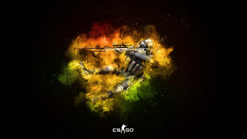CS GO, Counter-Strike: Global Offensive, Splash, Dark background, Wallpaper