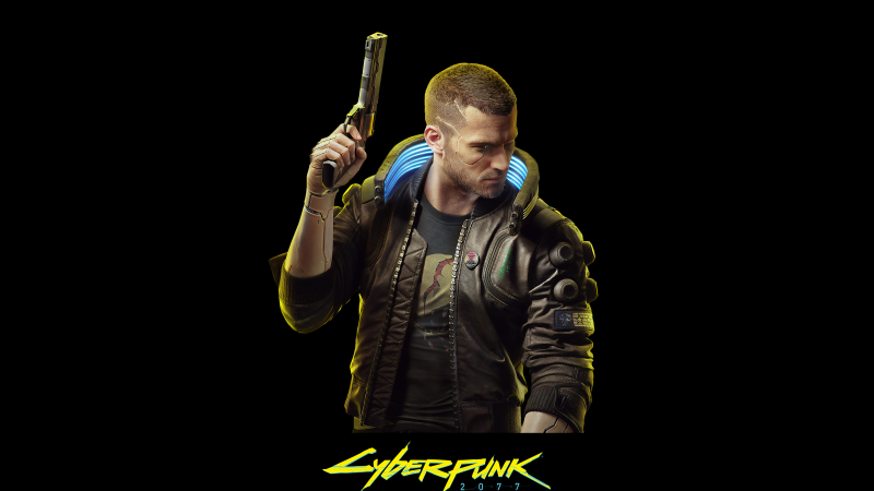 Cyberpunk 2077, Black background, PC Games, Xbox Series X, PlayStation 4, Google Stadia, Xbox One, 2020 Games, Wallpaper