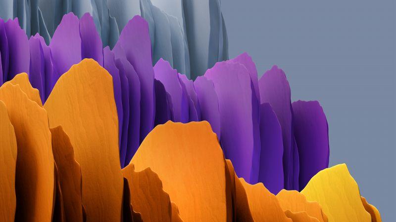 Samsung Galaxy Tab S7, Yellow, Purple, Grey, Stock, Wallpaper