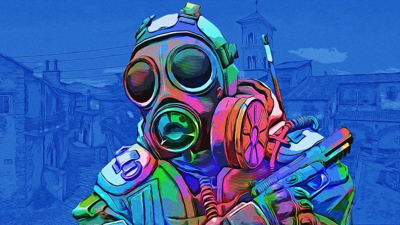 CS GO, Counter-Strike: Global Offensive, SAS, Blue background, Colorful, Wallpaper