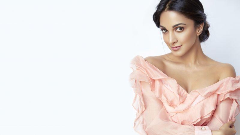 Kiara Advani, Indian actress, Bollywood actress, White background, 5K, 8K, Wallpaper