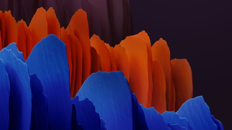 Samsung Galaxy Tab S7, Orange, Blue, Dark, Stock, Wallpaper