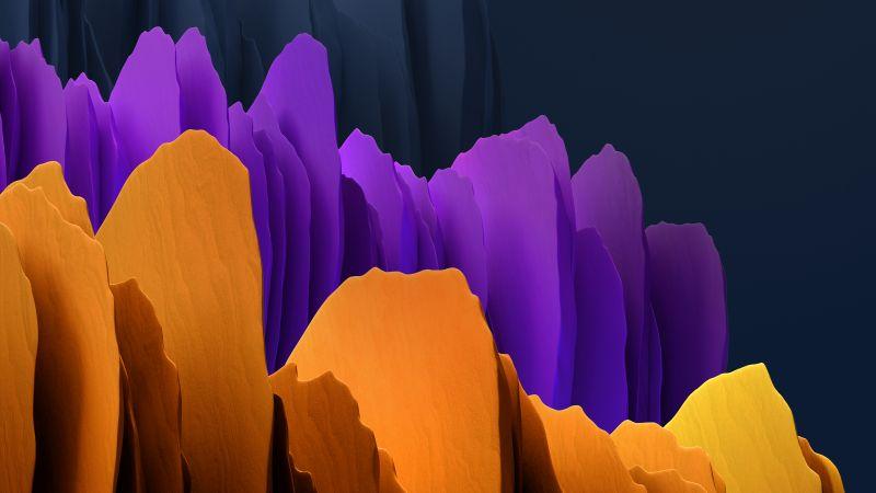 Samsung Galaxy Tab S7, Orange, Purple, Dark, Stock, Wallpaper