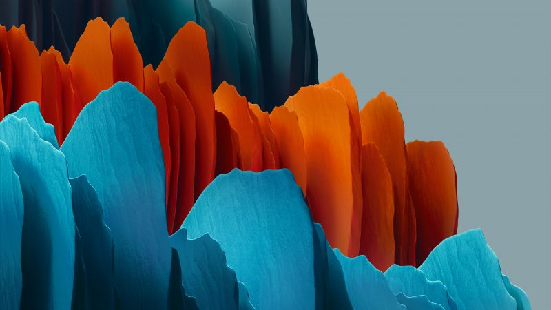 Samsung Galaxy Tab S7, Orange, Blue, Light, Stock, Wallpaper