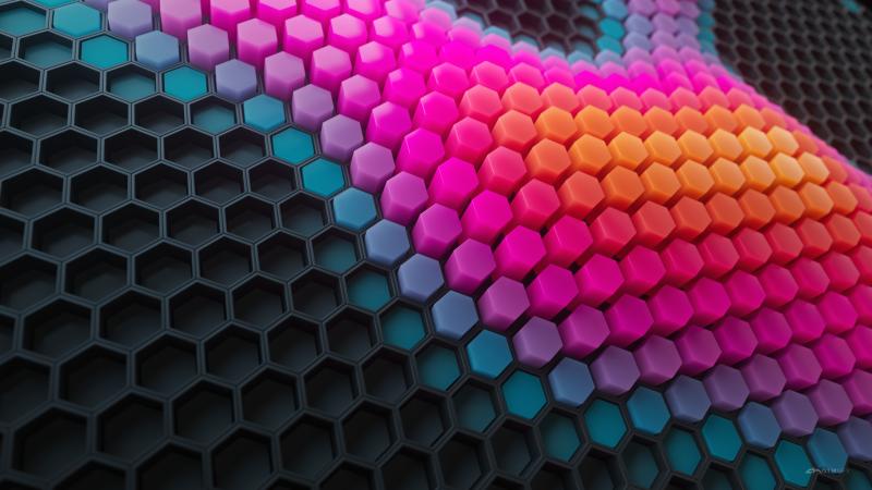 Hexagons, Patterns, Colorful background, Colorful blocks, Black blocks, Geometric, 3D background, Wallpaper
