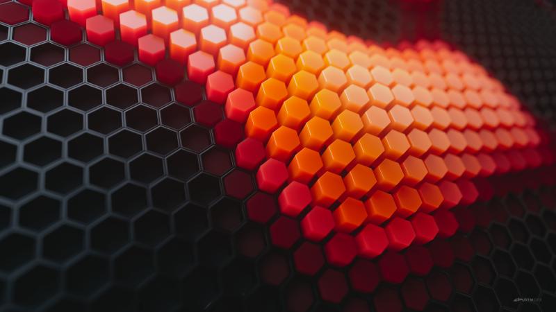 Hexagons, Patterns, Orange background, Orange blocks, Black blocks, Geometric, 3D background, Wallpaper