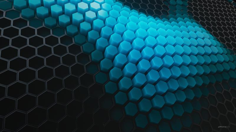 Hexagons, Patterns, Cyan background, Cyan blocks, Black blocks, Geometric, 3D background, Wallpaper