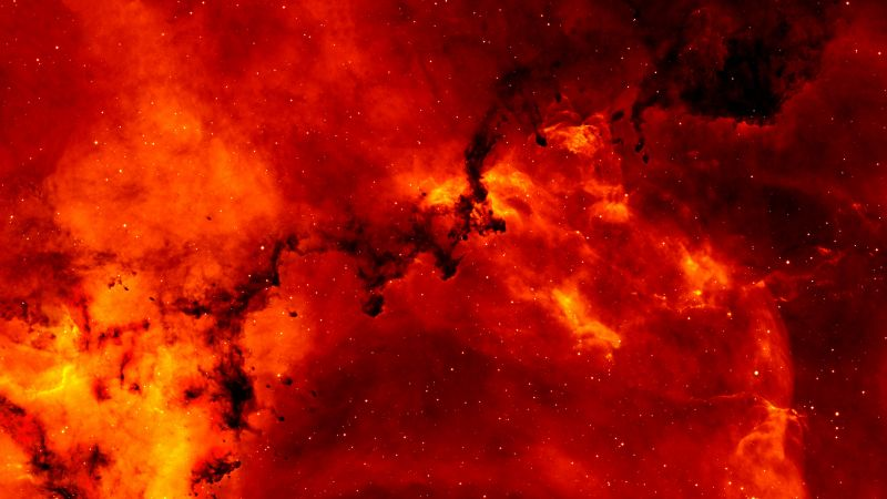 Solar flares, Fire, Outer space, Blazing, Red background, Galaxy, 5K, Wallpaper