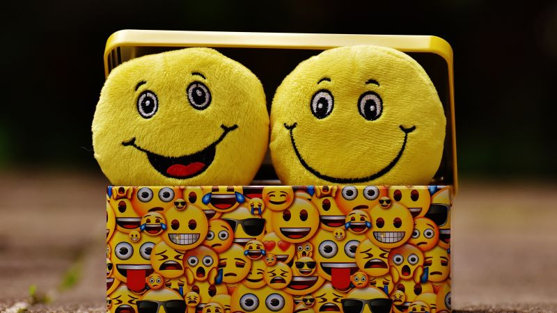 Emoji, Smileys, Yellow box, Cheerful, Smiling, Emoticons, Happiness, Cute expressions, Yellow, 5K, Wallpaper